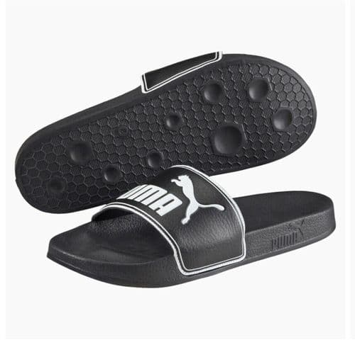 Puma LeadCat Slides Sliders Shower Sandals Beach Pool Black / White 360263-01